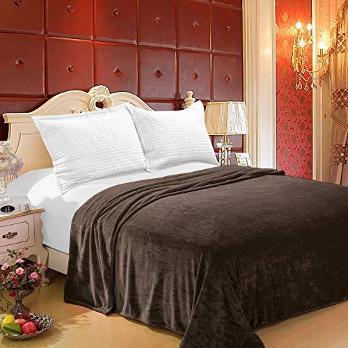 Home Must Haves Decke/Überwurf, Queen-Stil, 168 x 203 cm, Braun (Queen-size-braun Flanell-bettwäsche)