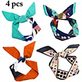 Fascigirl 4PCS Tie Scarf Neck Scarf Multi Purpose Fashionable Floral Decorative Headband For Women