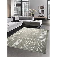 Alfombra La Optica Sisal Alfombra Cocina Moquette City New York London Paris gris negro Größe 60x110 cm