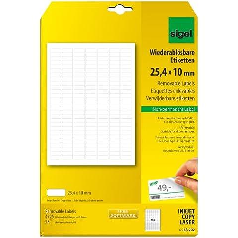 Sigel LA202 - Etiquetas despegables, 4725 unidades en 25 hojas, 25.40 x 10 mm (A4)