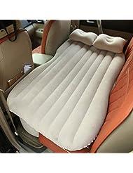 Materasso gonfiabile da auto multifunzionale pieghevole, sedile d'auto ad aria + 2cuscini, crema