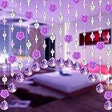 Hunpta Vorhang mit Kristallglas-Anhängern in Rosenform, luxuriöse Dekoration für Wohnzimmer-, Schlafzimmerfenster, Türen, als Hochzeitsdekoration e