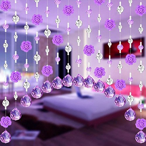Hunpta Vorhang mit Kristallglas-Anhängern in Rosenform, luxuriöse Dekoration für Wohnzimmer-, Schlafzimmerfenster, Türen, als Hochzeitsdekoration e (Gardinen Fransen Mit)