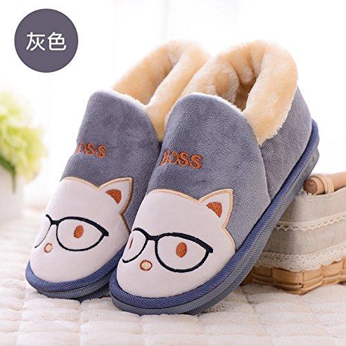 DogHaccd pantofole,La sig.ra Inverno paio di pantofole di cotone di spessore soggiorno nella bella eleganti scarpe antiscivolo pantofole caldi maschio Grigio2
