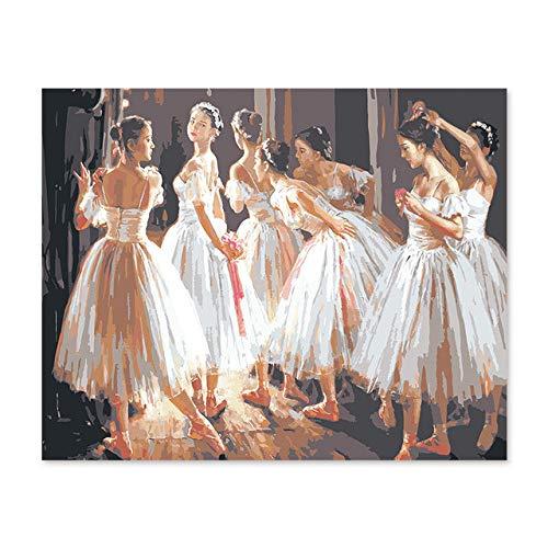Superluckty DIY digitales Ölgemälde durch Zahlen Zeichnung handgemalte Bild Ballerina tanzen Teilnahme in der digitalen Ölgemälde Klasse 40x50cm - Ballerina Vintage Bilder