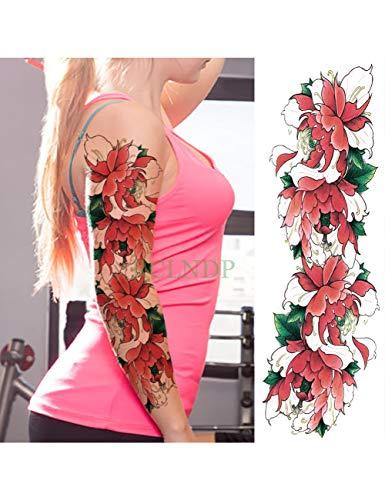 Astty adesivo tatuaggio impermeabile autoadesivo del tatuaggio temporaneo carpa pesce fiore braccio pieno falso tatto flash manica tatoo di grandi dimensioni per le donne uomini, arancione