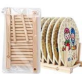 Generic 140mm: natural bambú plegable escurreplatos cubiertos de Pot Tapa Soporte Expositor de placa de...