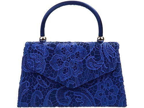 Other , Damen Clutch blau royal blue lace (Royal Satin Blue China)