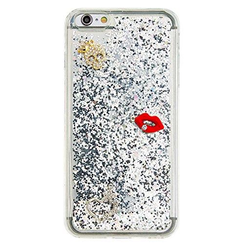 """MOONCASE iPhone 6S Plus Coque, Glitter Sparkle Bling [Owl] Faux Diamant Dessin Motif Liquide Étui Coque pour iPhone 6 Plus / 6S Plus 5.5"""" Soft TPU Gel Souple Case Housse de Protection Or 04 Argent 02"""