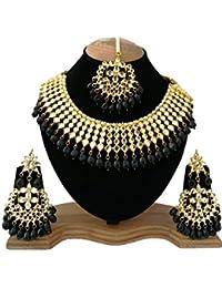 Finekraft Meena Kundan Stylish Gold Plated Wedding Designer Choker Necklace Jewelry Set