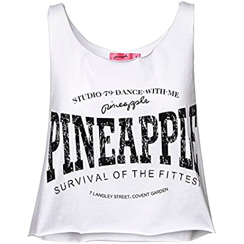 Top Cropped Raw Vest Pineapple (Bianco)