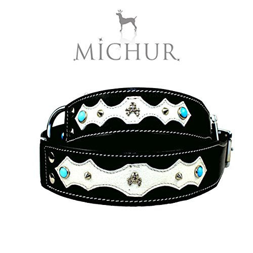 michur-santo-black-leather-collar-with-rivets-and-applications-for-dogs-available-in-different-sizes