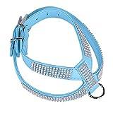 Demiawaking Haustier Hund Geschirr Bling Strass PU Leder Hundehalsbänder (Blau, XS)