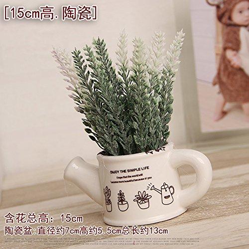Indoor desktop kleinen Ornamenten emulation Topfpflanzen künstliche Blumen verpackte Milch Flasche kleine Knospe, und wenig Silber Wasserkocher in Weiß und Lavendel (Knospe Für Weniger)