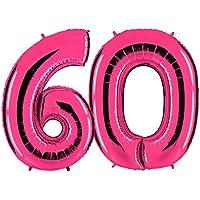Ballon Zahl In Pink   XXL Riesenzahl 100cm   Zum Geburtstag   Party  Geschenk Dekoration Folienballon