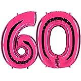 PartyMarty Ballon Zahl 60 in Pink - XXL Riesenzahl 100cm - zum 60. Geburtstag - Party Geschenk Dekoration Folienballon Luftballon Happy Birthday Rosa GmbH