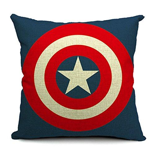 silkcrane, escudo de Capitán América Impreso Lino y Algodón Manta Decorativa Funda de almohada, 17,7'x 17,7