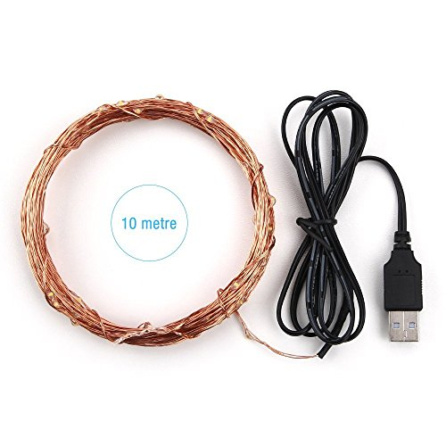 Joly Joy Guirnaldas con luces decorativas 10m alambre de cobre flexible impermeable(Blanco cálido)[Clase de eficiencia energética A+]