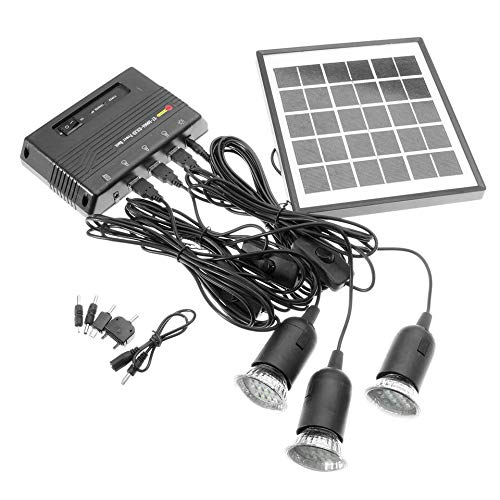 Feketeuki 4W 6V Outdoor Solar Power Panel LED Licht Lampe Ladegerät Hausgarten System Kit - Schwarz -