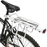 PedalPro Einstellbarer Fahrrad-Gepäckträger hinten, mit Reflektor - Weiß