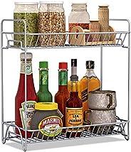 Ganeed 2-Tiers Kitchen Natural Wooden Spice Rack Standing Rack Organizer Jars Bottle Shelf Holder Rack for Kit