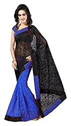 Aruna Sarees Womens Brasso Saree with Blouse Piece (Blue and Black)