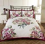 Blumen Rose Bettwäsche Set Blumenmuster Bettbezug Bettwäsche Bettwäsche-Set, gesteppt 12Designs, Bloomsbury Claret,