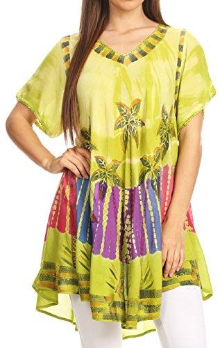 Sakkas 70SE Alohanani Kaftan Kleid /zudecken - Lime - One Size (Batik Krepp)