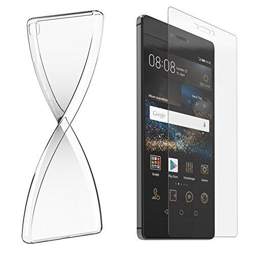 Schutzhülle und Glasfolie als Set für Huawei P8 Lite TPU Case Silikon Hülle Schutz Cover Transparent mit Panzerglas Schutzfolie Glasfolie