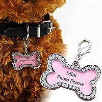 Amaoma Etiquetas de Identificación de Mascotas de Acero Inoxidable, Diamante Etiquetas de Perro de Hueso Forma para Gato Perro, Perro ID Tube Gatos y Perritos Colgante Collar 4 * 2.5cm (Rosa)