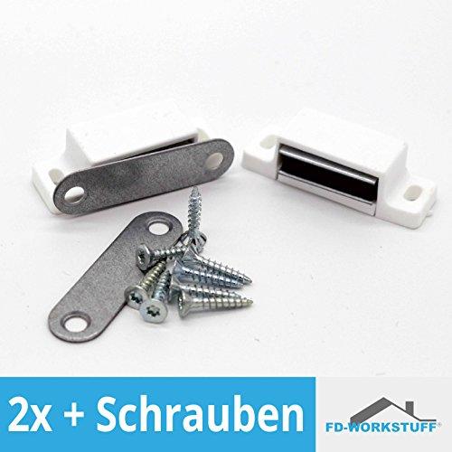 2 Stück Magnetschnäpper Weiss inkl. Schrauben Schrank Türmagnet Magnet-Schnapper Möbelmagnet Türverschluß Haltemagnet Magnetverschluss 6 kg Haltekraft