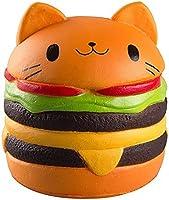 Nibesser Squishy Boule de Rebondissement Forme Hamburgers Chat Kawaii Jouets pour enfants et adultes 1 PCS