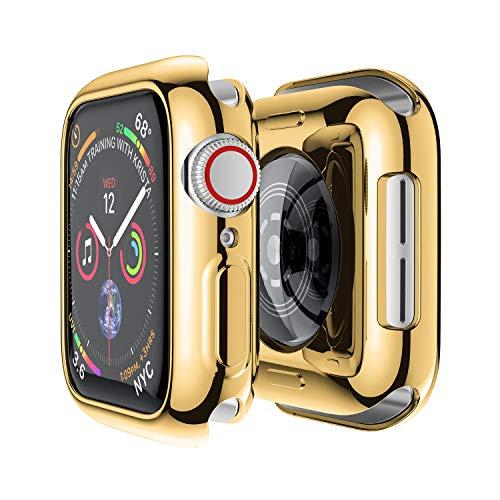 SD Trading 2x Schwarz-Galvanisiert Metall Vergoldet Hard Serie 1Schutzhülle mit integrierte Full Deckung Displayschutzfolie für Apple Armbanduhr 42mm Version 2015 38mm Gold TPU