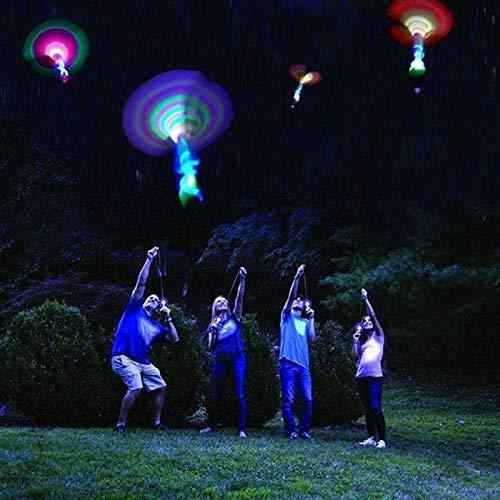 Liangliang 7Pcs Erstaunlich Erstaunliche LED-Light-Helikopter Fliegen Spielzeug-Elastische Power Sling Shooter Kombiniert Kraft Schleuder Pfeil Blitz-Helikopter Elastische Power Leuchtend Sky Rocket