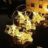 Leezo 10 LED-Licht batteriebetrieben weiß fünfzackiger Stern 1,1m Fee String Licht für Valentinstag Dekoration Hochzeit Schlafzimmer Garten Weihnachtsdekor