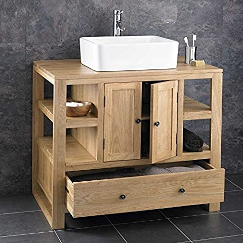 Clickbasin Cube Contemporary Solid Oak 90cm Two Door One Drawer