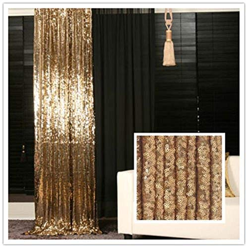 (TRLYC Fotohintergrund, 92 x 210 cm, Gold, Pailletten-Hintergrund, für Hochzeitsfotos, glitzernd, als Party-Dekoration und Vorhang verwendbar)