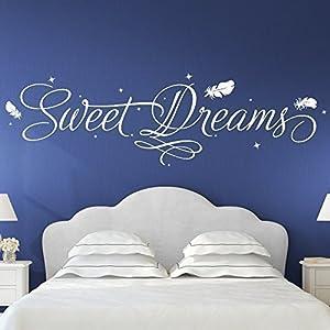 Grandora Wandtattoo Sweet Dreams + Sterne & Federn I schwarz (BxH) 140 x 39 cm I Schlafzimmer Kinderzimmer Sticker Aufkleber Wandaufkleber Wandsticker W3016