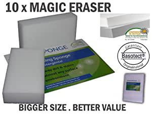 10 MagiSponge Magic Eraser. Removes tough stains & marks, smudge with just water. Certified Quality.