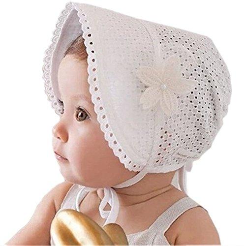 SAMGU Reizende nette Prinzessin Kind Kind Mädchen Baby Hut Beanie neue Spitze Blumenkappen Farbe Weiß