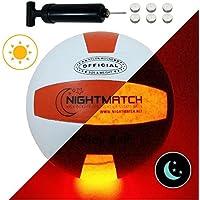 NIGHTMATCH LEUCHT-Volleyball MIT BALLPUMPE UND ERSATZBATTERIEN - Volleyball Ball - helle, Sensor-aktivierte LED-Beleuchtung - Offizielle Größe & Gewicht - Beach-Volleyball - Nacht-Volleyball
