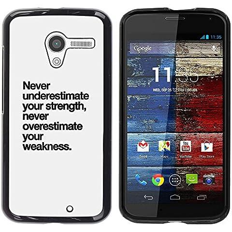 YOYOYO Smartphone Protección Defender Duro Negro Funda Imagen Diseño Carcasa Tapa Case Skin Cover Para Motorola Moto X 1 1st GEN I XT1058 XT1053 XT1052 XT1056 XT1060 XT1055 - fortaleza texto debilidad inspirador