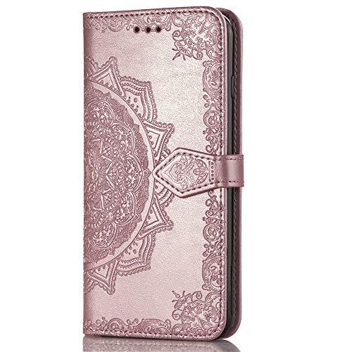 QPOLLY Kompatibel mit Huawei P30 Hülle PU Leder Tasche Brieftasche Handyhülle Mandala Blumen Muster Ledertasche Flip Hülle Schutzhülle mit Ständer Kartenhalter für Huawei P30,Rose gold
