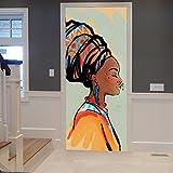 A.Monamour Stickers Muraux Autocollants Tribal Traditionnel Africain Femmes Portrait Peinture Image 3D Imprimer Vinyle Chambre Porte Autocollants Papier Peint Peintures Murales Autocollants Affiches...