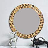 #6: Casa Decor Third DimensionalLobe Mirror Wall Hanging Wooden Wall Decor Round Shape for Living Room, Bedroom, Kids Room