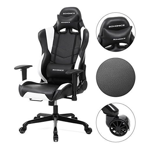Songmics racing silla de escritorio silla giratoria de for Soporte lumbar silla oficina