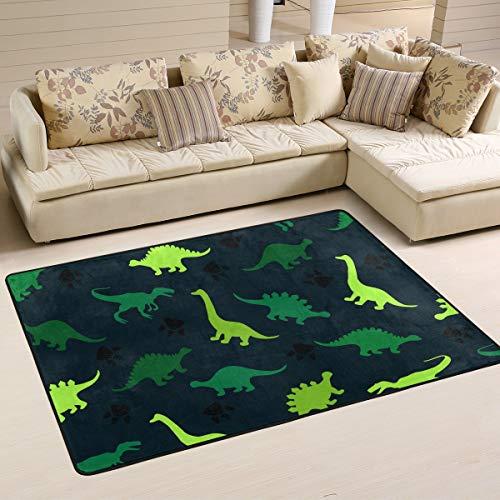 Jsteel Teppich, waschbar, weich, Bunte Dinosaurier auf dem abstrakten Bereich, 90 x 60 cm, Wohnzimmer-Teppich, Multi, 90 x 60 cm - Jungen-bereich