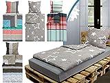 Bettwäsche-Set 2-teilig - Seersucker - 1 Kissenbezug ca. 80 x 80 cm und 1 Bettdeckenbezug ca. 135 x 200 cm – in 4 verschiedenen Dessins, Sterne [silber, anthrazit]