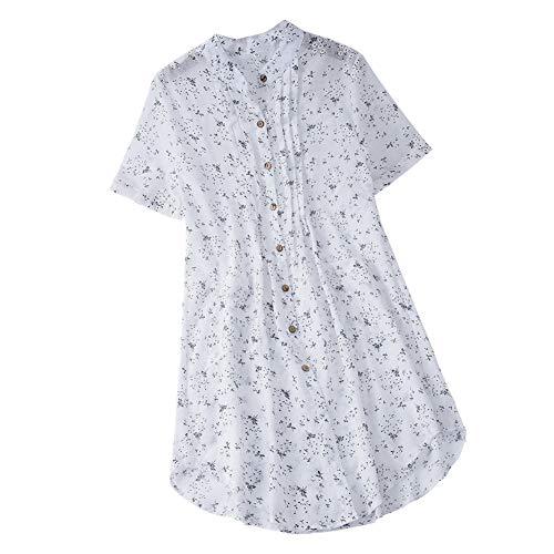 iHENGH Damen Bequem Mantel Lässig Mode Jacke Frauen Frauen mit Langen Ärmeln Vintage Floral Print Patchwork Bluse Spitze Splicing Tops(Weiß-b, 5XL)