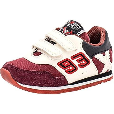 Munich Baby Racer 07 Granate, Zapatillas deportivas- Bambas, plano de 0 a 2 cm, piel, Redonda,